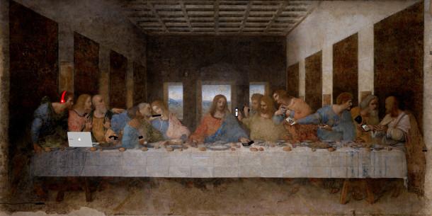 Художник осовременил классическую западную живопись «яблочными» гаджетами
