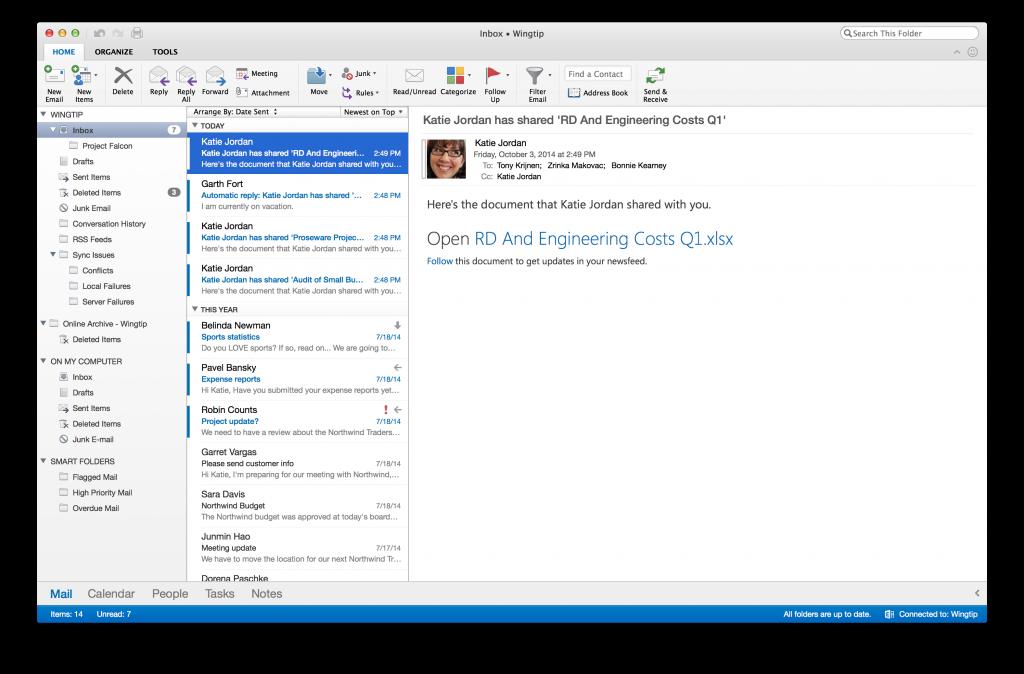 Microsoft представила новую версию Outlook для Mac
