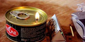 Как сделать свечу из консервной банки