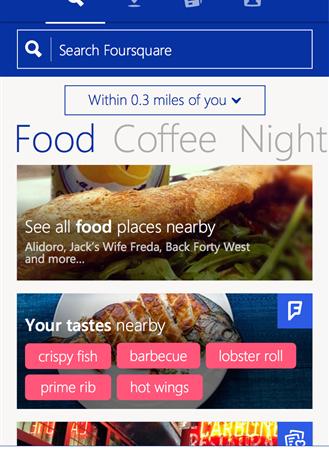 Foursquare для Windows Phone