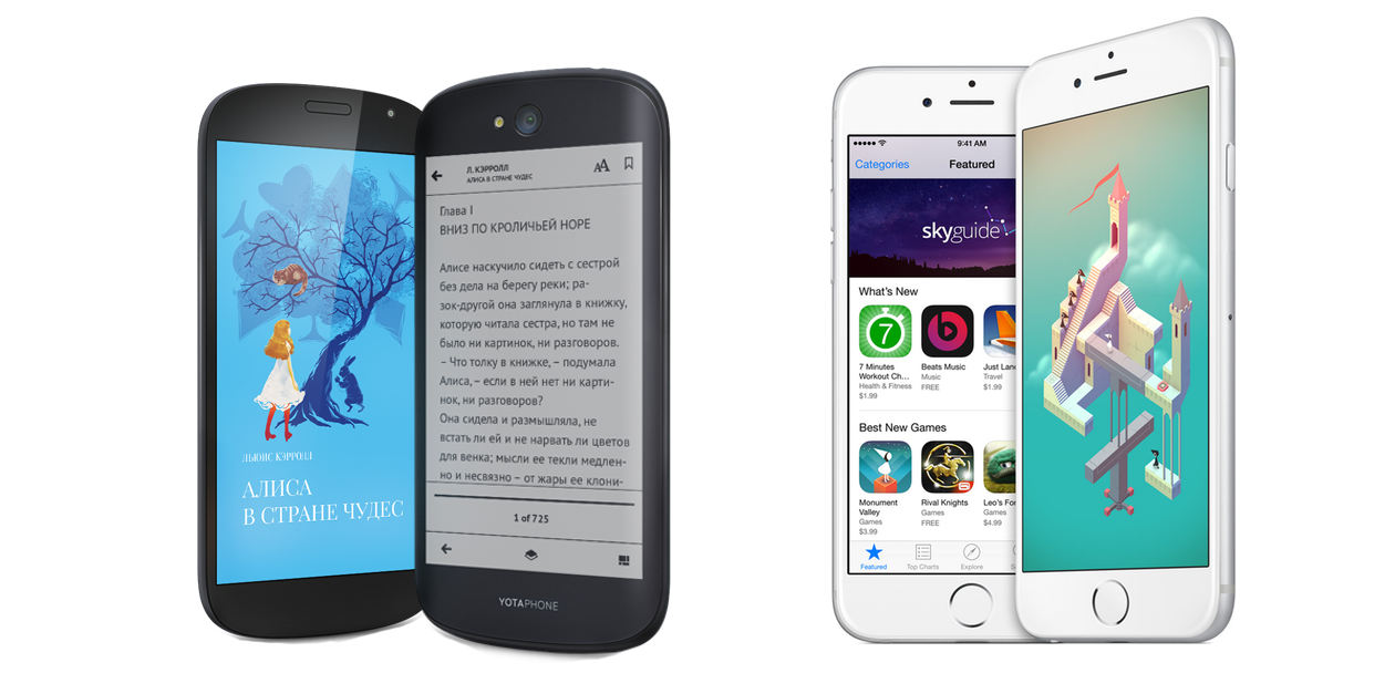 YotaPhone 2 и iPhone 6: Сравнение характеристик