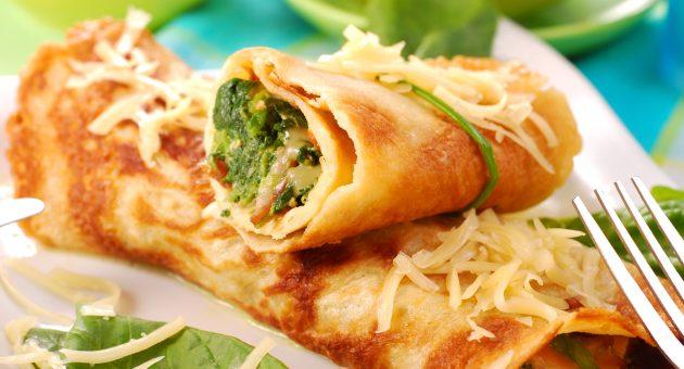Начинки для блинов: с сыром и шпинатом