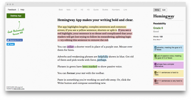 Программы для писателей: Hemingway