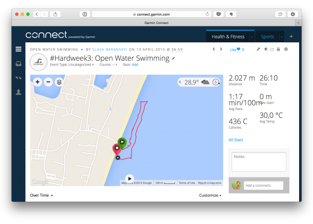 Плавание с Garmin Fēnix 3 в открытой воде