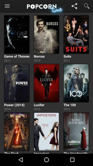 Приложение для просмотра фильмов Popcorn Time