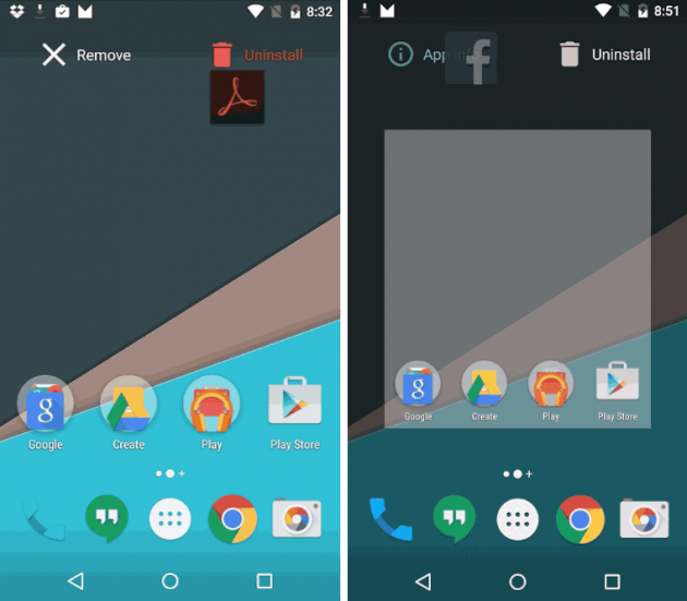 Android M uninstall app