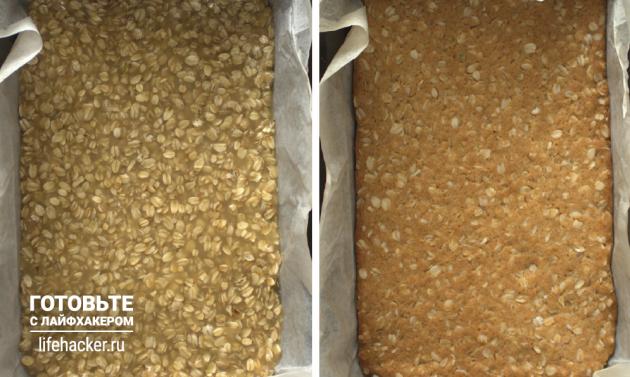 Творожные батончики с нектарином: выпекайте овсяную основу 10минут при 180градусах