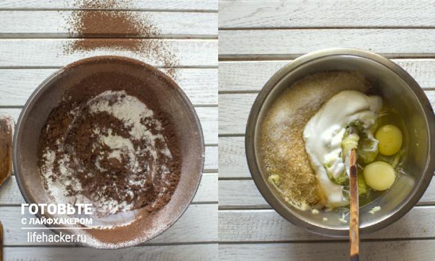 Бисквит из кабачка: соедините ингредиенты