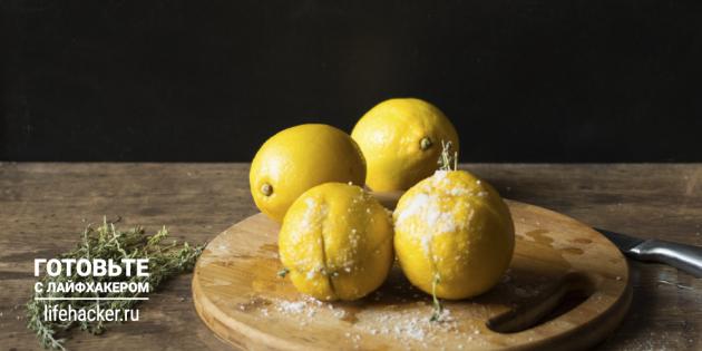 Консервированные лимоны с тимьяном и чесноком: надрежьте и нафаршируйте фрукты