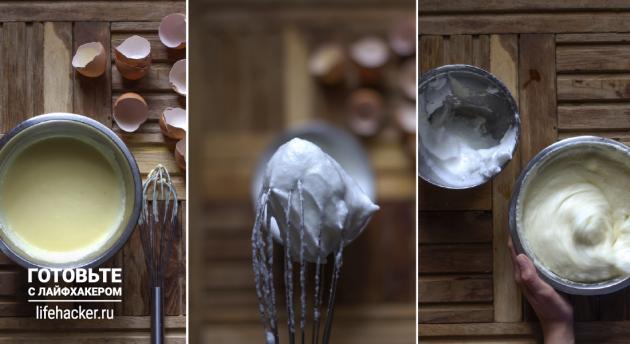 Творожное суфле с шоколадом: взбейте белки и добавьте к творогу