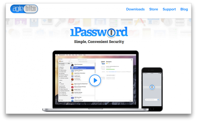 1Password screen