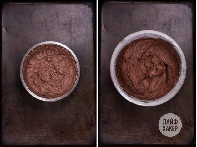 Чтобы приготовить печенье с шоколадной начинкой а-ля фондан, к маслу добавьте какао и яйцо, взбейте, потом соедините масляную смесь с мучной