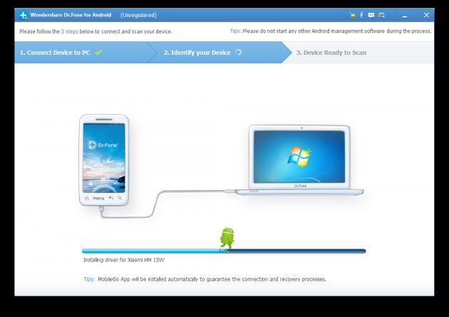 Dr.Fone for Android подключение