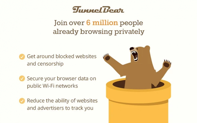 Бесплатные VPN для Chrome: TunnelBear VPN