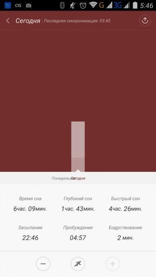Приложение Xiaomi Mi Band 1S: фазы сна