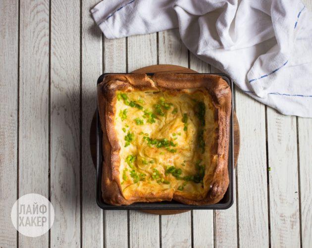 Как приготовить воздушный омлет с сыром и зелёным луком: отправьте омлет в духовку