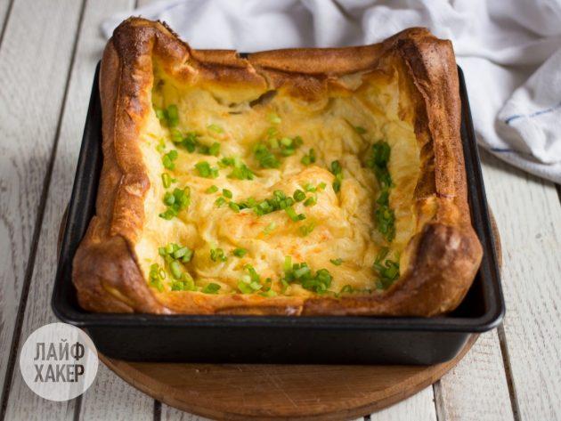 Как приготовить воздушный омлет с сыром и зелёным луком: посыпьте омлет луком