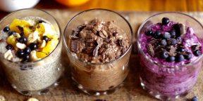 4 десерта с семенами чиа: апельсиновый, ягодный, кофейный и яблочный с корицей