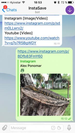 Боты Telegram: InstaSave
