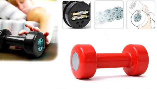 New-Creative-Red-Dumbbell-Alarm-Clock-Shape-up-30-Times-New-Red