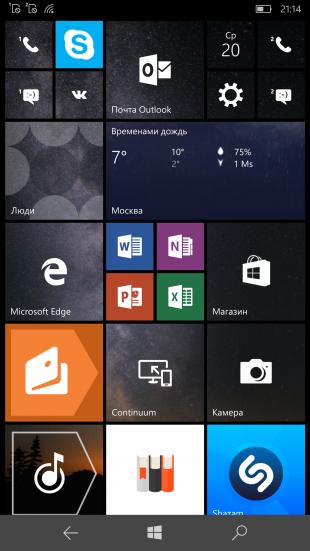 Lumia 950 XL: рабочий стол