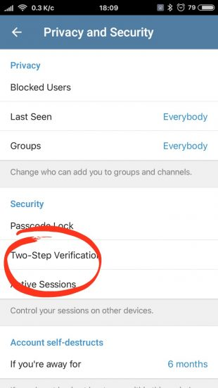Telegram two-step