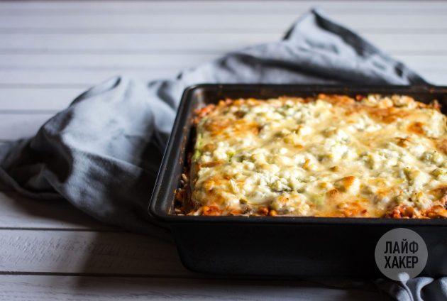 Лазанья из кабачков с творогом: поставьте блюдо запекаться при 190 градусах на протяжении получаса