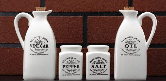 Набор ёмкостей для масла, уксуса, соли и перца