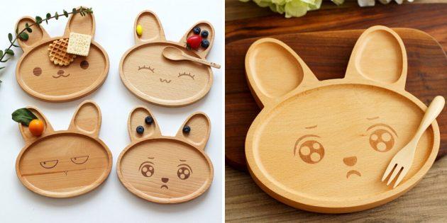 Детские деревянные тарелки