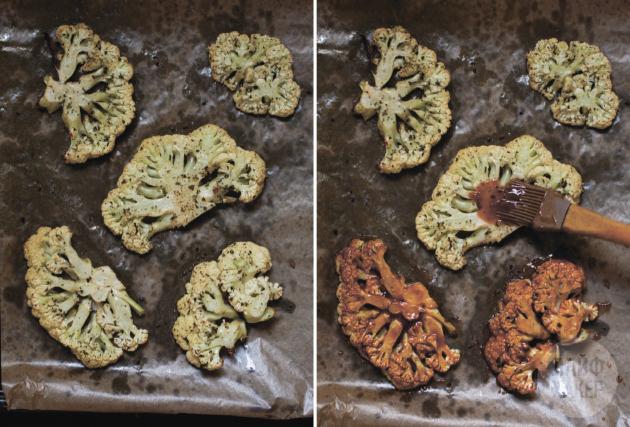 «стейки» из цветной капусты в духовке: глазируйте капусту соусом барбекю
