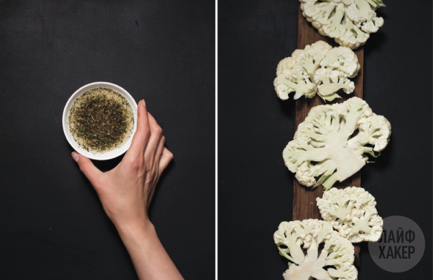 «стейки» из цветной капусты в духовке: разрежьте кочан капусты