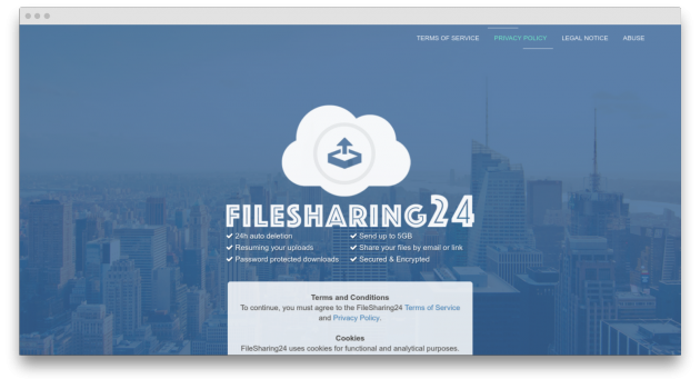 FileSharing24 screen