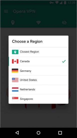 Opera VPN change