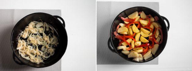 курица с овощами: овощи