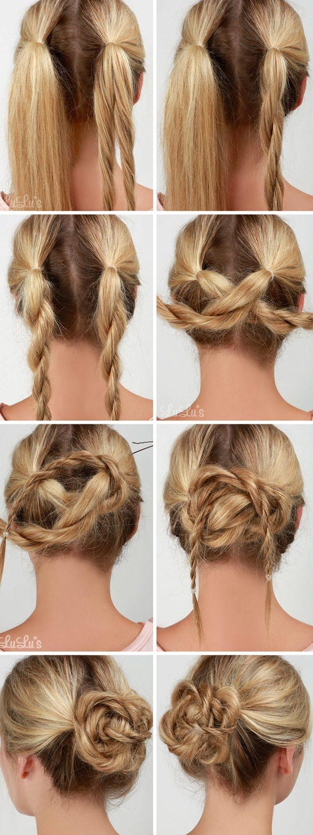 Причёски за 5 минут: узел из жгутов