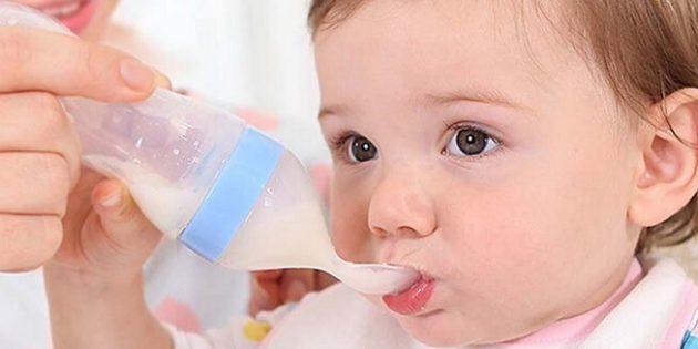 товары для молодых мам Силиконовая бутылочка с ложкой