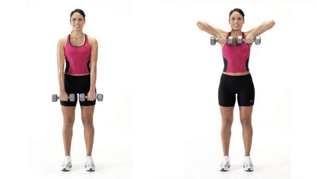 мышцы верхней части спины: подтягивание гантелей к груди