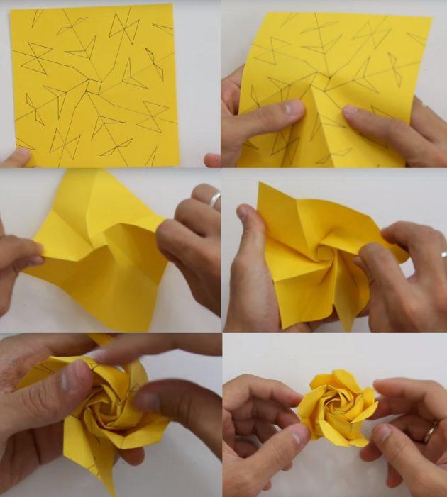 Как сделать из бумаги розу Кавасаки