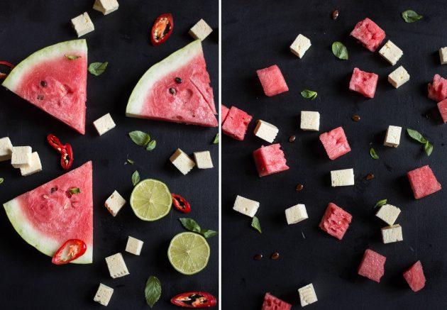 Салат с арбузом и фетой: нарежьте арбуз и сыр кубиками