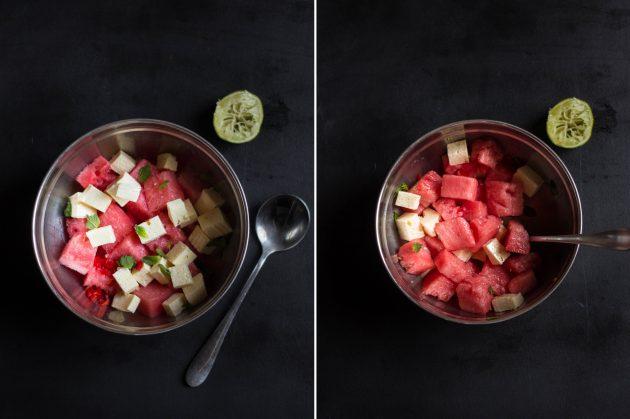 Салат с арбузом и фетой: смешайте ингредиенты