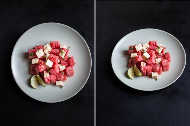 Салат с арбузом и фетой: вариант подачи