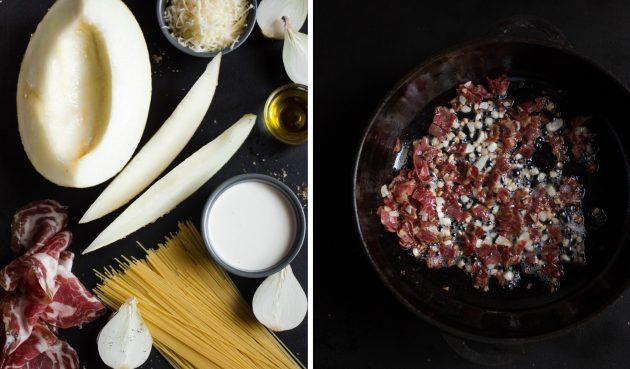 Паста с ветчиной и соусом из дыни: поджарьте на сковороде ветчину и лук