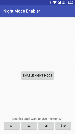 ночной режим в Android Night Mode Enabler main screen