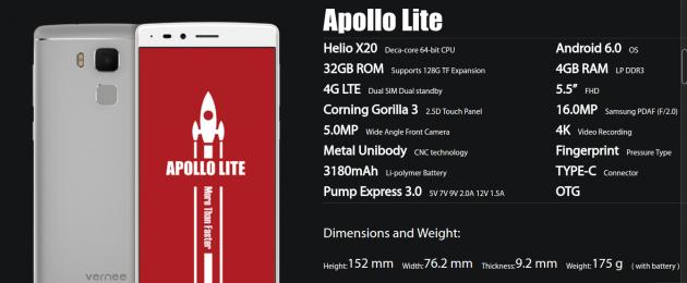 Apollo Lite: технические харкетеристики