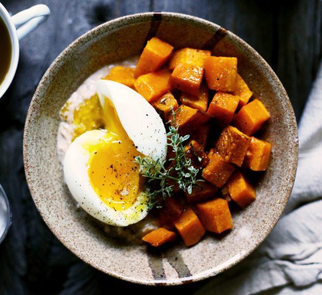 солёная овсянка: тыква и яйца