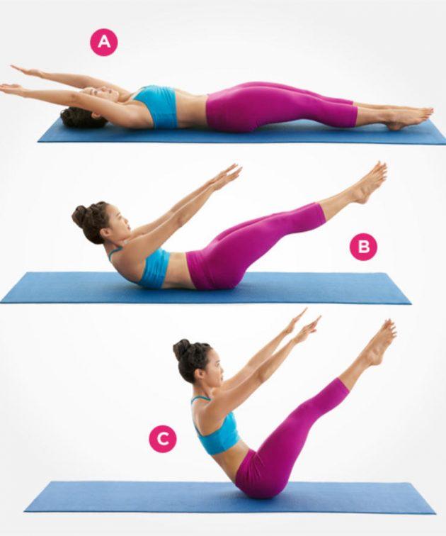 упражнения из пилатеса для плоского живота уголок