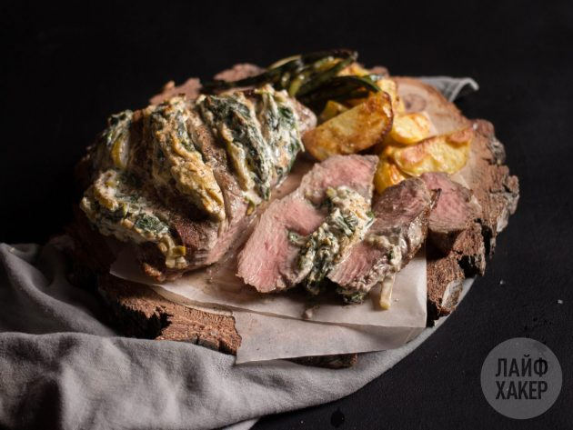 Говядина хассельбек с крем-сыром и шпинатом: готовое блюдо