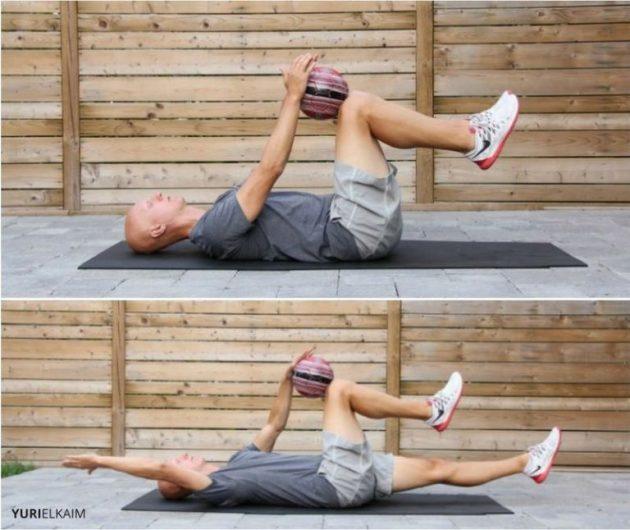 как исправить сутулость: упражнения с медболом