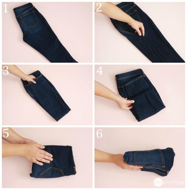 как сложить одежду: джинсы
