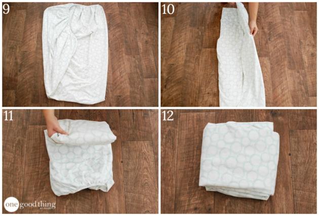 как сложить одежду: простыня на резинке
